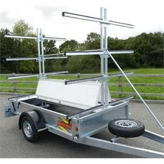 A Heavy duty Galvanised steel trailer, that can carry up to 8 open boats or 24 kayaks. Kayak Bike Trailer, Boat Trailer, Kayak Camping, Canoe And Kayak, Camping Organisation, Kayak Equipment, Kayak Rack, Water Safety, Metal Projects