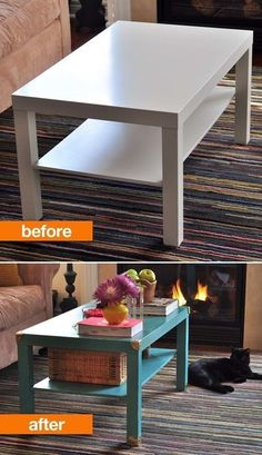 Add a coat of paint and gold trunk hardware to make a plain coffee table stand out.
