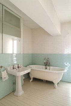 Green tile is trending in interior design. Here are 35 reasons why we can't get enough green tile. For more interior design trends and inspiration, visit domino. Bathroom Wall Decor, White Bathroom, Turquoise Bathroom, Fully Tiled Bathroom, Bathroom Ideas, Bathroom Tapware, Bathroom Pics, Tiled Bathrooms, Pool Bathroom