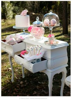 Photos by Sweet Events. White Candy Bars, Romantic Love, Pink White, Real Weddings, Backyard, Events, In This Moment, Table Decorations, Elegant