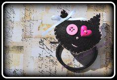 Handmade Felt Cat ponytail holder hairband by annatrimmeldesigns, $10.00