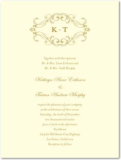 I like the insignia at the top of this invitation, and how the names are centered and in cursive font