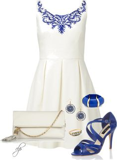 """""""Blue & White Dress"""" by cristypeterson on Polyvore"""