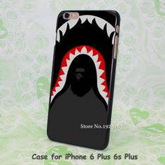 tumblr A bathing ape in shark Pattern hard black Case Cover for iPhone 4 4s 5 5s 5c 6 6s 6 Plus 6s Plus