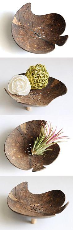 Exotic Elegance Bodhi Leaf Form Decorative Coconut Wood Dish.