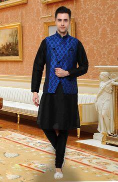 Fabulous Black& Blue Kurta Pyjama set With Jacket