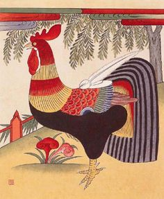 Minwha(Korean Folk art)-Rooster by kimsingu on DeviantArt Traditional Paintings, Traditional Art, Tattoo Traditional, Korean Traditional, Arte Do Galo, Korean Painting, Illustration Blume, Country Quilts, Korean Art