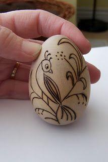 BUG A BOO CORNER: Wood burned wood eggs
