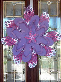Girls Bedroom Wall / Door Decor Flip Flop Wreath Purple White Pink w/Butterfly Summer CUTE via Etsy