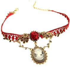 New Stylish Cameo Red Rose Lace Fashion Necklace Jewelry Women Gift... ($4.19) ❤ liked on Polyvore featuring jewelry, pendants, rose pendants, red jewellery, red rose jewelry, cameo pendant and rose jewellery