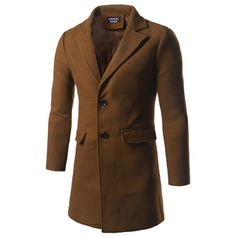 47.87$  Buy now - http://dib6l.justgood.pw/go.php?t=201299721 - Back Vent Single Breasted Woolen Coat 47.87$