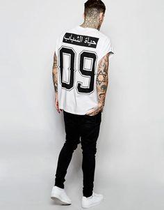 ASOS | ASOS Super Oversized Longline T-Shirt With Arabic Text Print at ASOS