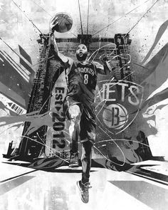 Japanese artist Dragon76 melds the spirit of Brooklyn Bridge with the dynamic game of it's best player Deron Williams in this unique portrait that stays true to his graffiti style.