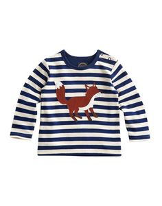 Joules null Baby Boys Long Sleeve Jersey Top, Navstrp.                     With a fox appliqué that adds charm and character, this soft cotton top will be a winner all season long. The contrast colour trims complete this piece and the poppers to one shoulder add that easy-on and easy-off quality. ttp://www.joulesusa.com/Baby/All-Baby-Joule-  Boys/Baby-Renard/Baby-Boys-Long-Sleeve-Jersey-Top/Navstrp?id=P_BABYRENARD|NAVSTRP