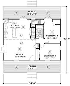 cottage 2 beds 15 baths 954 sqft plan 56 547 main floor - 2 Bedroom House Plans