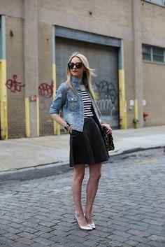 Skater Skirt, Stripes and Denim. Perfect!