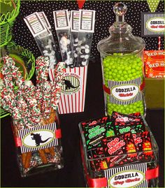 Candy buffet idea for Alex's movie party