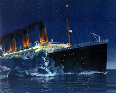 Titanic striking the iceberg