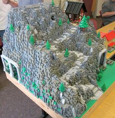 Mountain with log cabin