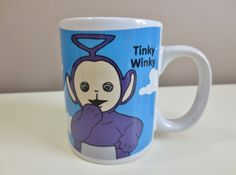 Teletubbies Tinky Winky Blue Mug Cup 1996 by OtterValleyVintage