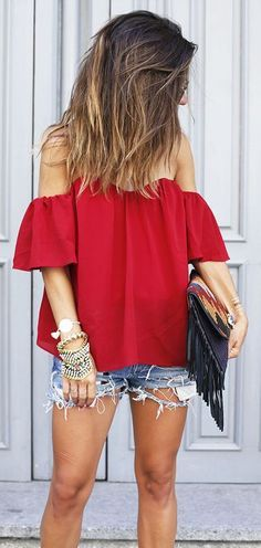 #summer #fashion / red off-the-shoulder top + ripped denim short shorts