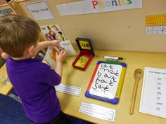 Foundation Stage Two Blog - Jolly Phonics challenge table. Writing rhyming words.