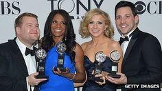 Musical Once scoops 8 Tony Awards, from left, James Corden, Audra McDonald, Nina Arianda and Steve Kazee