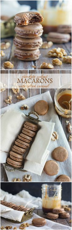The best macarons I've made yet! Loved the walnut in the shells, and the buttery salted caramel balances out the sweetness. ~ http://bakingamoment.com