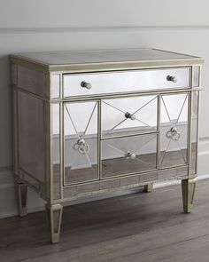 Shop Amelie Small Mirrored Chest at Horchow, where you'll find new lower shipping on hundreds of home furnishings and gifts. Royal Furniture, Selling Furniture, Furniture Sale, Online Furniture, Furniture Decor, Furniture Design, Mirrored Nightstand, Mirrored Furniture, Nightstands