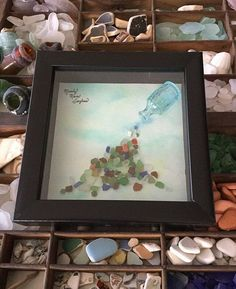 Treasures  Framed Sea Glass Art  Nautical by MainlyMaineSeaglass