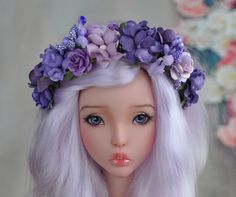 Flower headband bjd Lavender summer breeze Free size MSD - SD - 70+   Blueberry Style