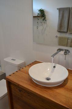 Timber vanity semi-inset basin