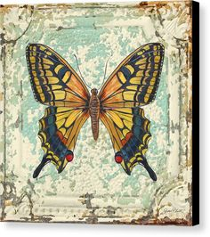 Acrylic Painting Canvas Print featuring the painting Lovely Yellow Butterfly On Tin Tile by Jean Plout
