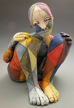 Slightly creepy 'Colorful life II by Linda Lewis Clay ~ 17 x Human Sculpture, Paper Mache Sculpture, Sculpture Art, Sculpture Ideas, Ceramic Sculptures, Ceramic Figures, Clay Figures, Ceramic Art, Mannequin Art