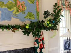 closeup of aLe's mantel garland tall end © The Gracious Posse