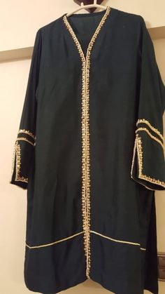 Items similar to Pakistani semi formal black and gold shalwar kameez on Etsy - Pakistani dresses Pakistani Dresses Shalwar Kameez, Simple Pakistani Dresses, Pakistani Bridal Dresses, Pakistani Dress Design, Pakistani Outfits, Indian Outfits, Kurti Sleeves Design, Sleeves Designs For Dresses, Pakistani Fashion Party Wear