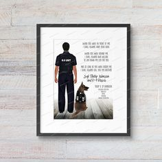 DIGITAL FILE Custom Personalized Police Officer Policeman Cop Sargeant Canine K-9 K9 Unit Police Dog Create Your Character, Textured Canvas Art, Personalized Graduation Gifts, Gifts For Horse Lovers, Horse Print, Police Dogs, Portrait Illustration, Police Officer, Artwork Prints