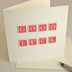 Handmade Good Luck Card by Chapel Cards, the perfect gift for Explore more unique gifts in our curated marketplace. Greeting Card Companies, Greeting Cards, Leaving Cards, New Job Card, Teacher Thank You Cards, Good Luck Cards, Baby Girl Cards, Congratulations Card, Creative Cards