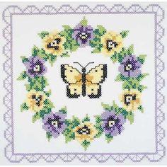 "Pansy Wreath Quilt Blocks Stamped Cross Stitch -18""X18"" 6/Pkg"