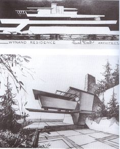 """Rand """"Fountainhead"""" House / Never built / 1946 / Frank Lloyd Wright Architecture Drawings, Architecture Details, House Sketch, Frank Lloyd Wright, Modern Exterior, Design Process, Ayn Rand, House Design, Postcards"""