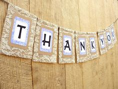 Burlap THANK YOU Banner with Lace Custom Colors by LazyCaterpillar, $57.00