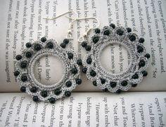 Hand Crochet  Beaded Grey Black Anchor Cotton by CraftsbySigita on Etsy