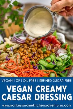 Take your salads to the next level with this flavorful Vegan Creamy Caesar Dressing that is fast, easy, and tastes just like the real deal. Vegetarian Recipes, Healthy Recipes, Easy Recipes, Cheap Recipes, Diet Recipes, Sugar Free Vegan, Vegan Sauces, Salad Dressing Recipes, Oil Free Salad Dressing