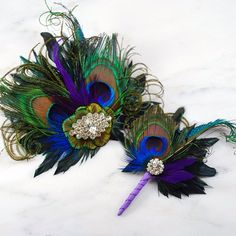 Peacock Feather and Sword Boutonniere Buttonhole Corsage - Matches Josephine Fascinator | Tailored