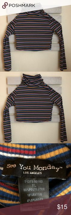 Striped Multicolor Turtleneck Fits like a medium See You Monday Tops Tees - Long Sleeve Turtleneck, Long Sleeve Tees, Best Deals, Medium, Closet, Things To Sell, Tops, Style, Fashion