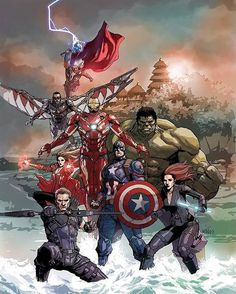 "superandgay: ""league-of-extraordinarycomics: ""Avengers by Leinil Francis Yu. As this appears to feature MCU Avengers, I will we could see this piece expanded to include future members like. Marvel Fanart, Marvel Comics, Heros Comics, Arte Dc Comics, Marvel Films, Marvel Heroes, Comic Book Characters, Marvel Characters, Comic Character"