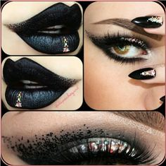 Black Gothic dark eyes and lips jewel makeup