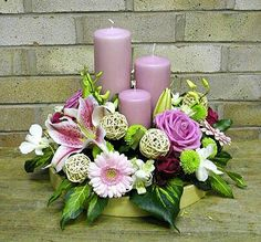 Really pretty colours in a small arrangement, but personally would change the wicker spheres. Candle Arrangements, Church Flower Arrangements, Church Flowers, Beautiful Flower Arrangements, Funeral Flowers, Floral Centerpieces, Floral Arrangements, Beautiful Flowers, Wedding Flowers