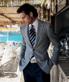 Checkered blazer, diagonal striped tie  Credit: Pal Zileri
