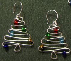 """Need properly sized beads and wire"""" - Christmas Tree Earrings Wire Wrapped Jewelry, Wire Jewelry, Beaded Jewelry, Handmade Jewelry, Jewlery, Pandora Jewelry, Earrings Handmade, Jewelry Box, Diy Schmuck"""